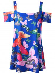 Butterfly Print Plus Size Cold Shoulder Top
