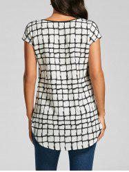 V Neck Back Plaid T-shirt - WHITE AND BLACK