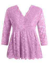 Stylish V-Neck Half Sleeve Plus Size Lace Women's Blouse - PINK