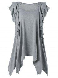 Plus Size Ruffle Trim Tunic Top