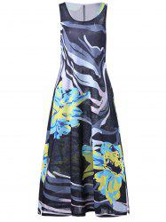 Plus Size Floral A Line Maxi Casual Dress