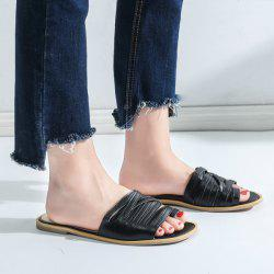 Toe Loop Strappy Flat Slides - BLACK