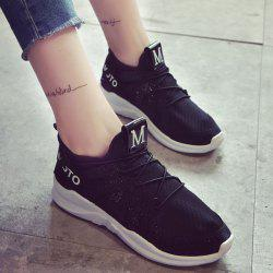 Letter Print Breathable Sneakers - BLACK
