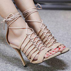 Faux Leather Tie Up Stiletto Heel Sandals