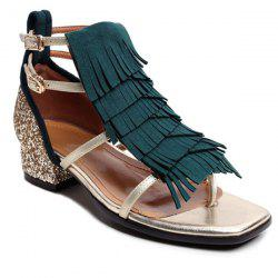 Low Heel Sequin Fringe Sandals