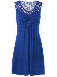 Twist Front Lace Panel Sleeveless Dress - BLUE