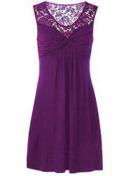 Twist Front Lace Panel Sleeveless Dress - PURPLE