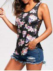 Skull Floral Openwork Lace Back Tank Top - COLORMIX