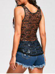 Openwork Lace Back Skull Flower Tank Top - COLORMIX 2XL
