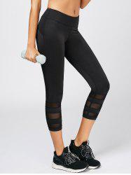 Mesh Panel Cropped Gym Running Leggings - BLACK