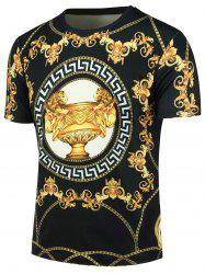 Short Sleeve 3D Chain Trophy Floral Print T-shirt