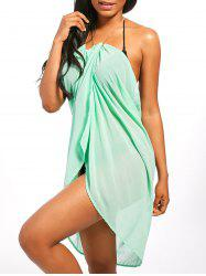 Beaded Rope Strap Chiffon Cover Up Dress - LIGHT GREEN