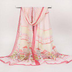 Gossamer Cartoon House Printing Long Scarf