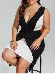 Surplice Plus Size Two Tone Bodycon Dress - BLACK