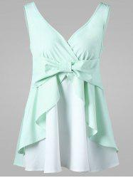 Empire Waist Bowknot Tank Top - MINT 2XL