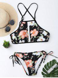 Floral Print Backless Cropped Top Bikini Set