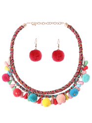 Fuzzy Ball Ethnic Necklace and Earring Set