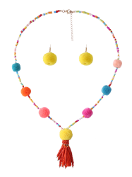 Fuzzy Ball Beaded Tassel Earring and Necklace Set