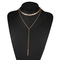 Circle Disc Bar Collarbone Layered Necklace - GOLDEN