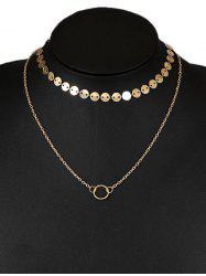 Layered Circle Disc Collarbone Pendant Necklace -