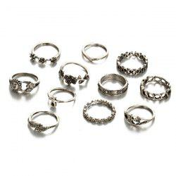 Moon Sun Flower Leaf Finger Ring Set - SILVER