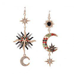 Rhinestone Sun Star Moon Hook Earrings