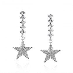 Rhinestoned Star Dangle Drop Earrings