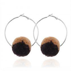 Alloy Circle Fuzzy Ball Hoop Earrings
