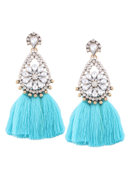 Rhinestone Teardrop Tassel Floral Earrings