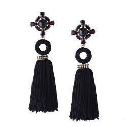 Vintage Artificial Crystal Teardrop Tassel Earrings - BLACK