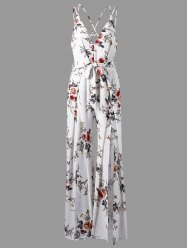 Low Cut Tiny Floral Criss Cross Jumpsuit - WHITE