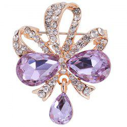 Hollow Out Rhinestone Teardrop Bowknot Brooch - PURPLE