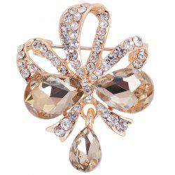 Hollow Out Rhinestone Teardrop Bowknot Brooch - TEA-COLORED