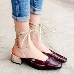 Square Toe Lace Up Mules Shoes