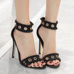 Zipper Rivets Stiletto Heel Sandals -