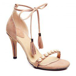Stiletto Heel Tassel Beaded Sandals