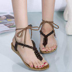Ethnic Lace Up Beaded Flat Sandals