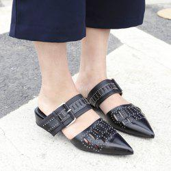 Pointed Toe Hollow Out Flat Slides