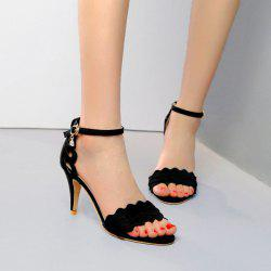 Scalloped Heeled Ankle Strap Sandals