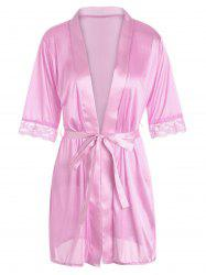 Satin Lace Trim Wrap Sleepwear with Belt - PINK