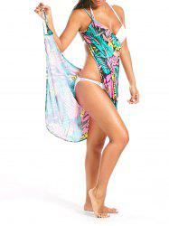 Colorful Palm Leaf Print Short Cover Up Dress