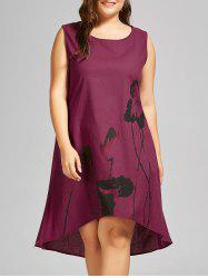 Plus Size Ink Painted High Low Tank Dress