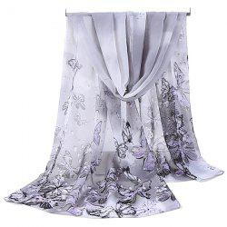 Lightsome Fancy Butterfly Printing Chiffon Scarf - GREY WHITE