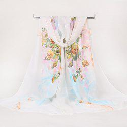 Lightsome Rose Bush Printed Gossamer Scarf - WHITE