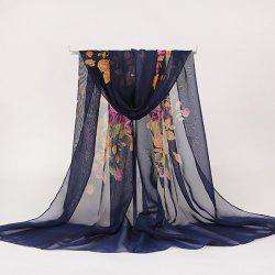 Lightsome Rose Bush Printed Gossamer Scarf - PURPLISH BLUE