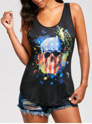 Skull Splash Ink Print Rock Tank Top