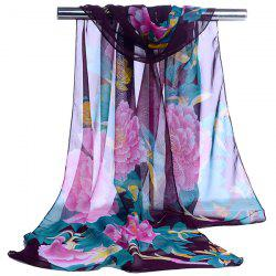 Gossamer Showy Flowers Printed Long Scarf - PURPLE