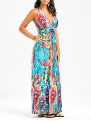 Peacock Print Halter Padded Backless Maxi Dress