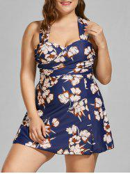 Padded Underwire Plus Size Skirted Floral Swimsuit