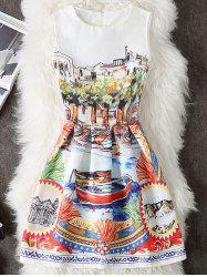 Scenery Print Short Dress